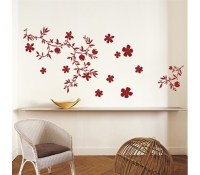 Floral Red - Dorm Room Wall Decor Peel N Stick ...