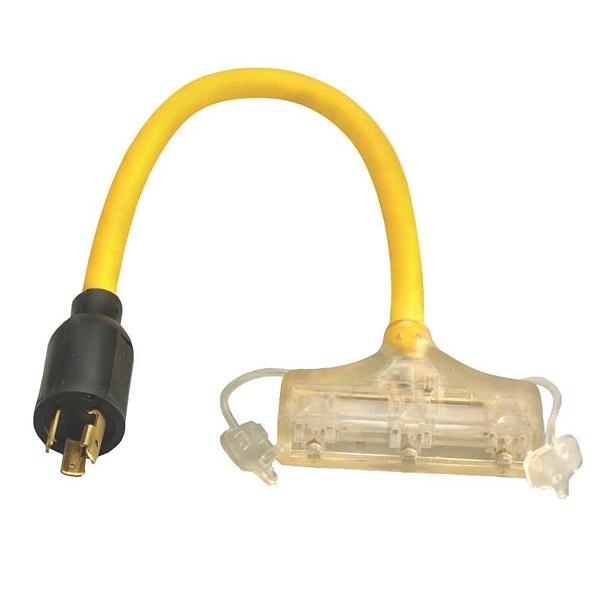 Coleman 90848802 Twist Lock Cord Adapter, 120V, 15A, L520 Tri-Tap