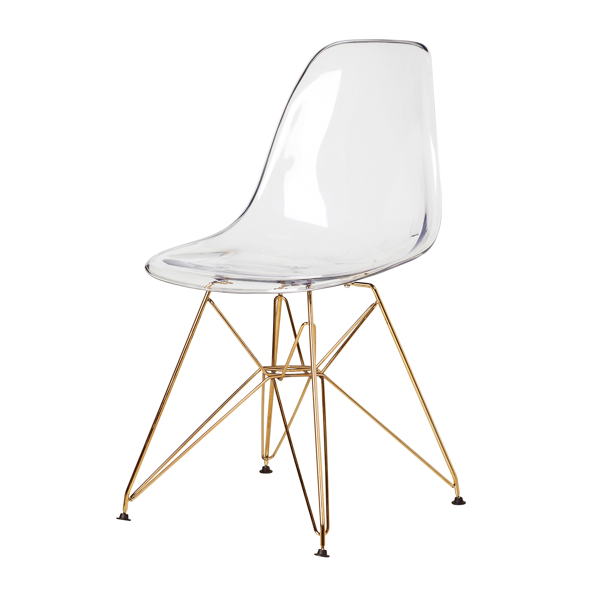 Eames Eiffel Molded Plastic Dsr Style Clear Side Chair With Gold Legs