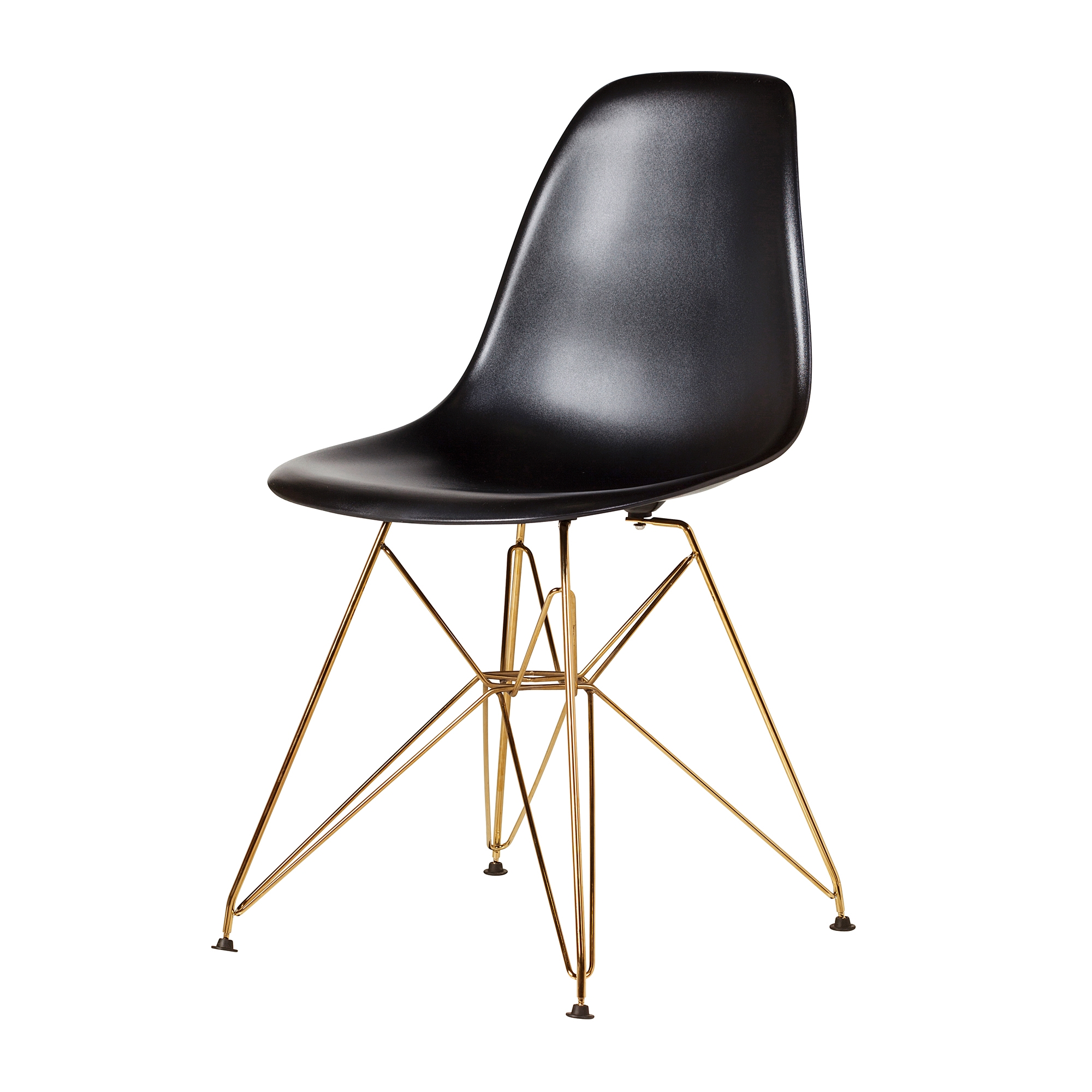 Eames Eiffel Molded Plastic Dsr Style Black Side Chair With Gold Legs