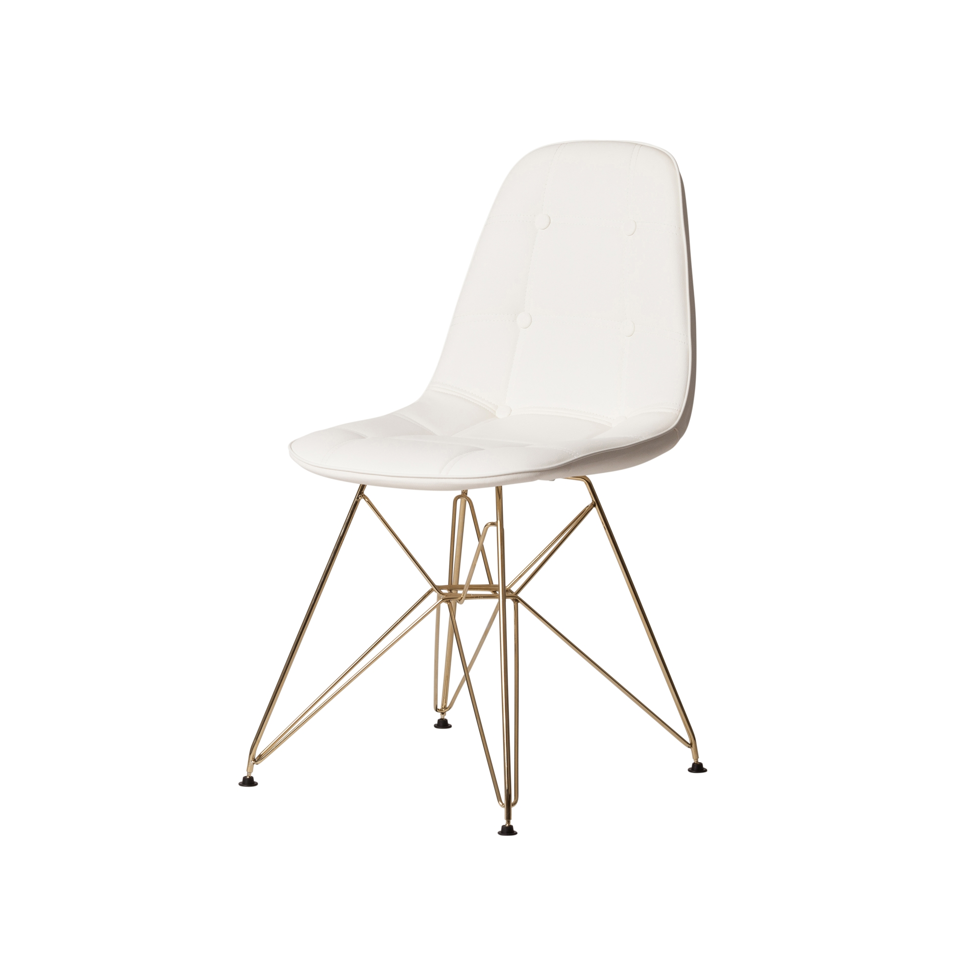 Eames Eiffel Dsr Style White Leather Side Chair With Gold Legs