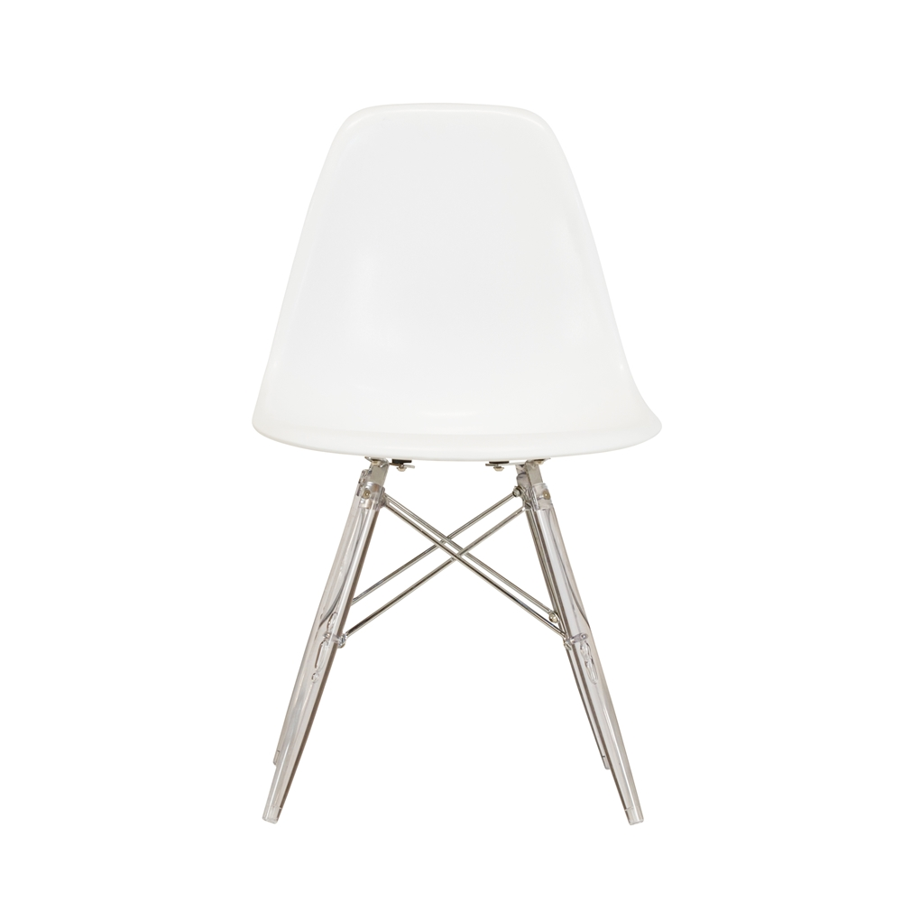 Eames Dsw Molded Midcentury Modern Style Side Chair White Seat And Clear Legs