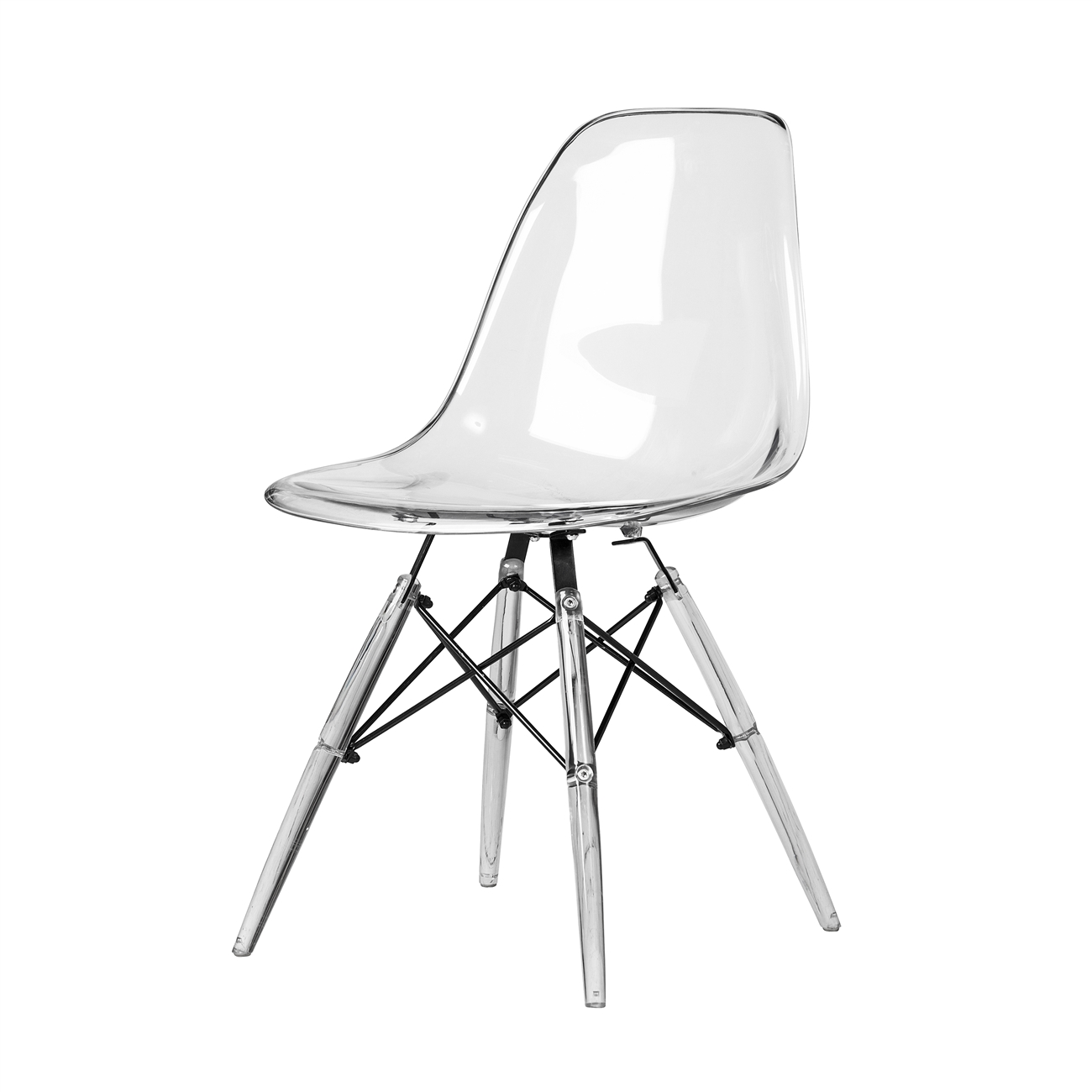 Eames Dsw Molded Midcentury Modern Style Side Chair Clear Seat And Legs