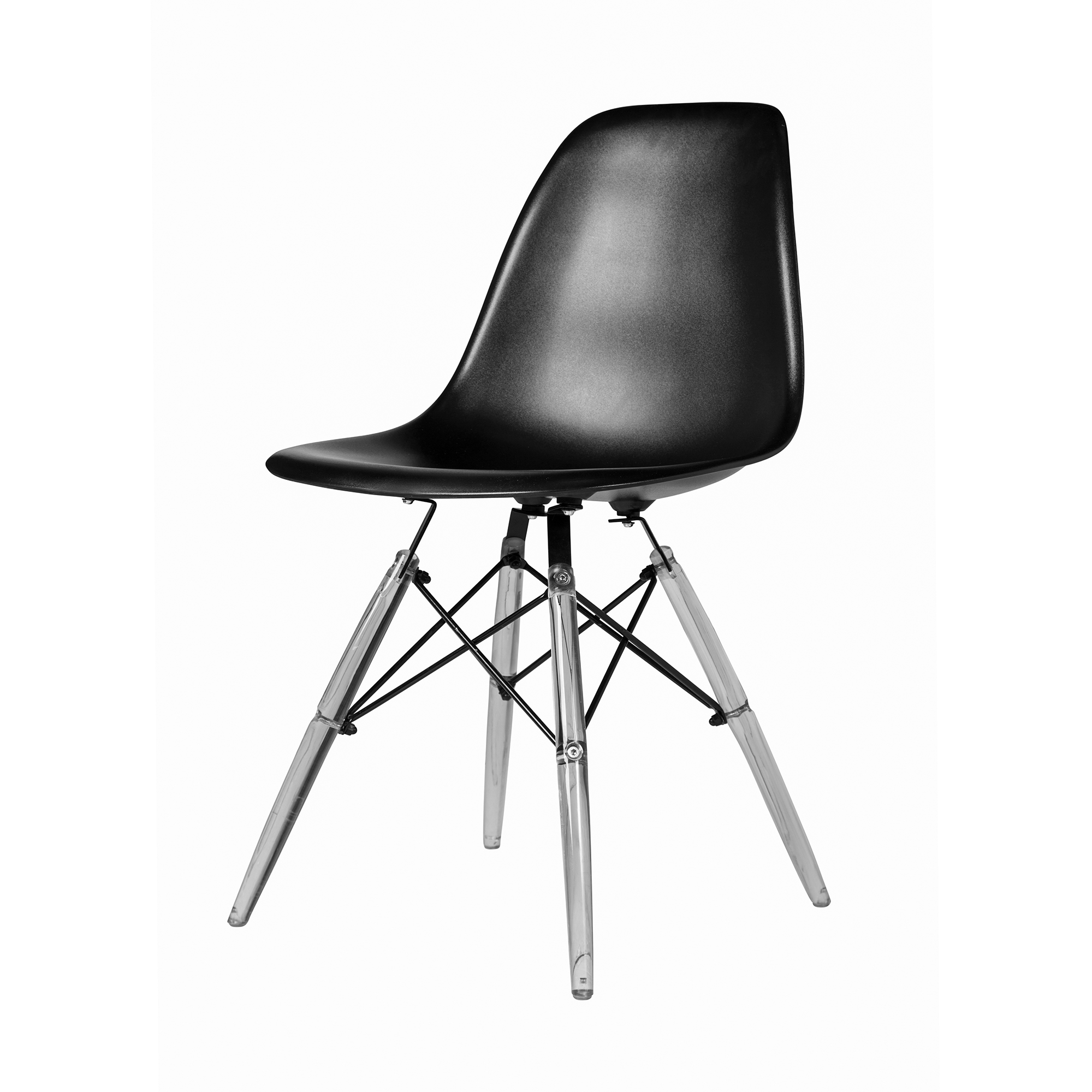 Eames Dsw Molded Midcentury Modern Style Side Chair Black Seat And Clear Legs