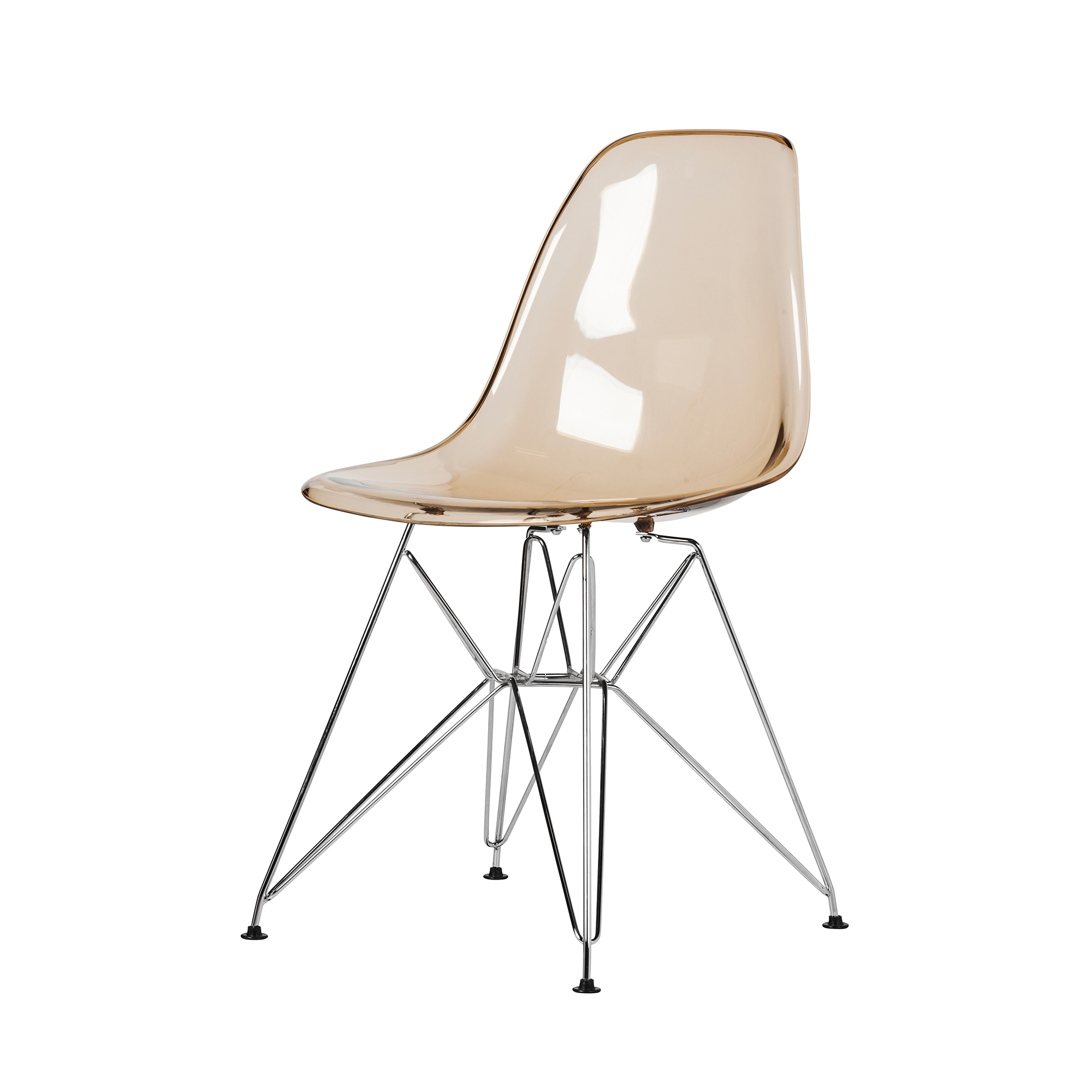 Eames Eiffel Molded Plastic Dsr Style Amber Side Chair With Chrome Legs