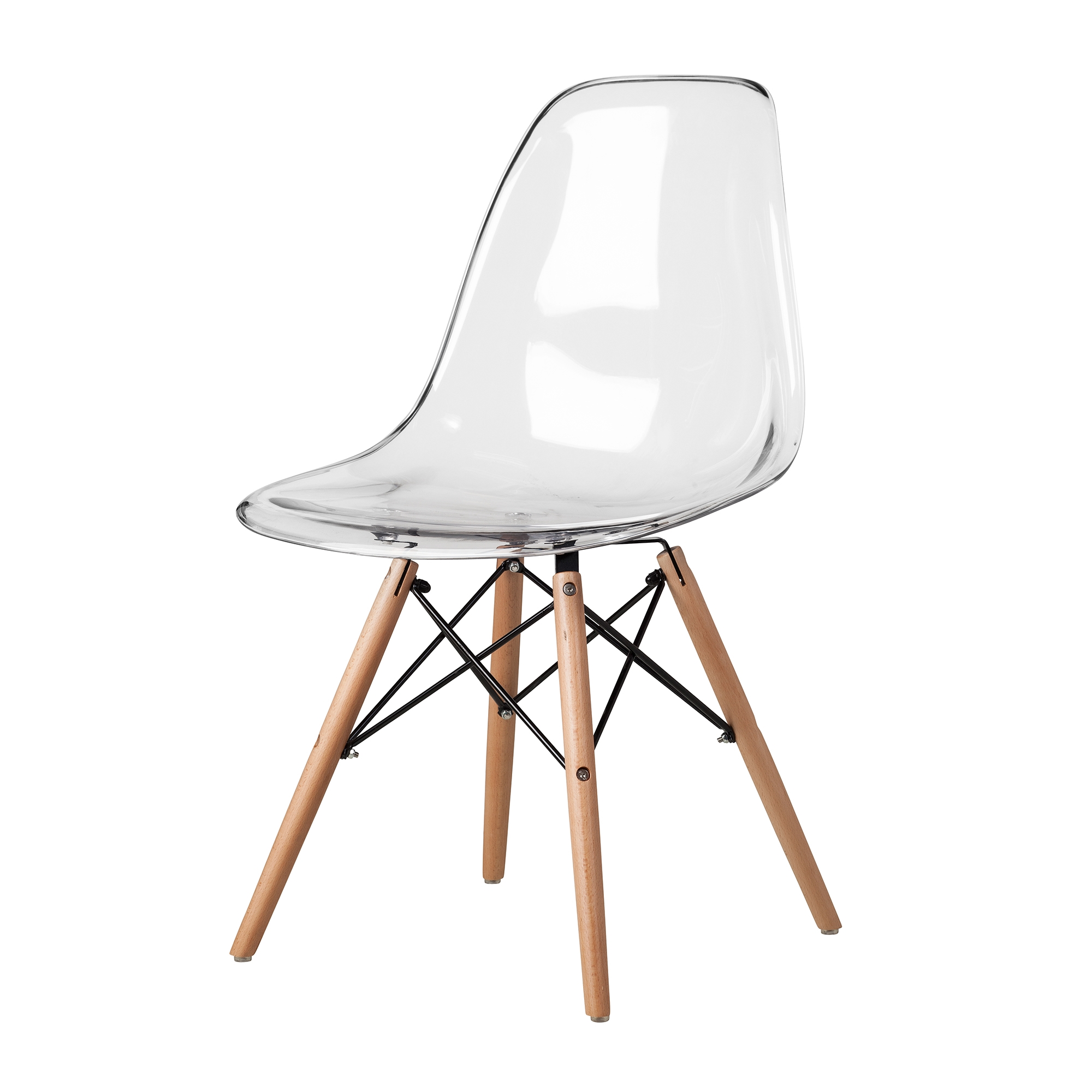 Eames Dsw Molded Mid Century Side Chair Clear Plastic