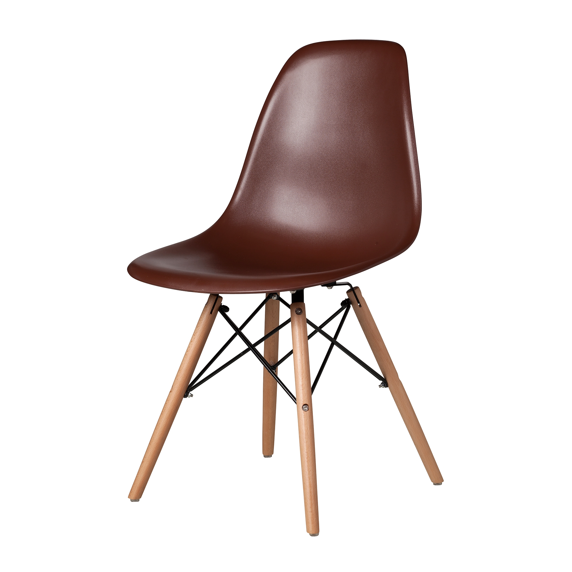 Eames Chair Beige Molded Mid Century Side Chair Brown