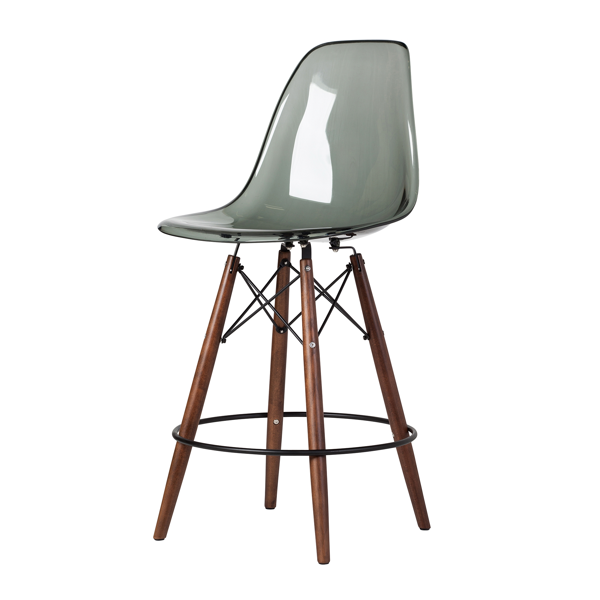 Eames Dsw Molded Mid Century Acrylic Counter Stool In Smoke