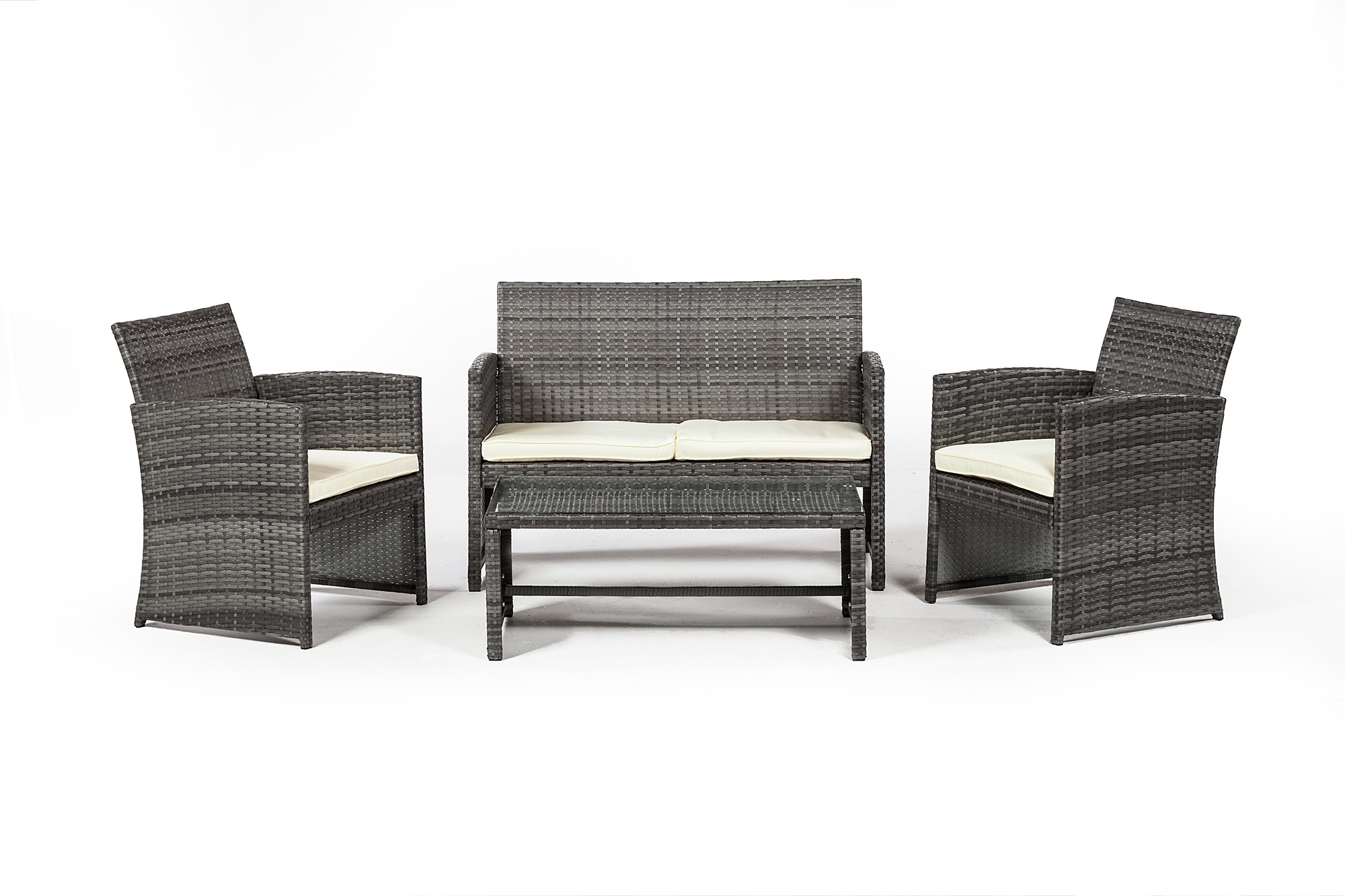 Outdoor Sofa Rattan Outdoor Furniture 4 Piece Set In Grey Rattan