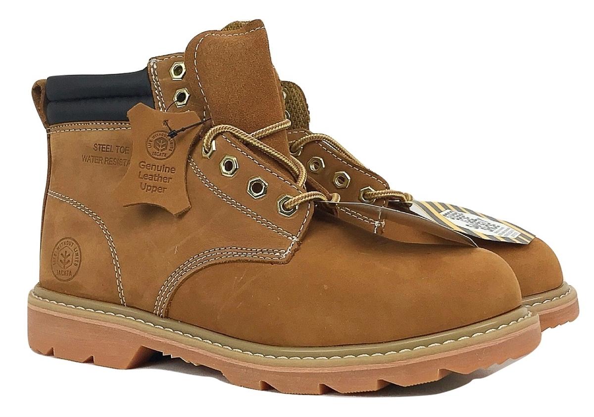 Jacata Brand Men39s Steel Toe Genuine Leather Wheat Classic