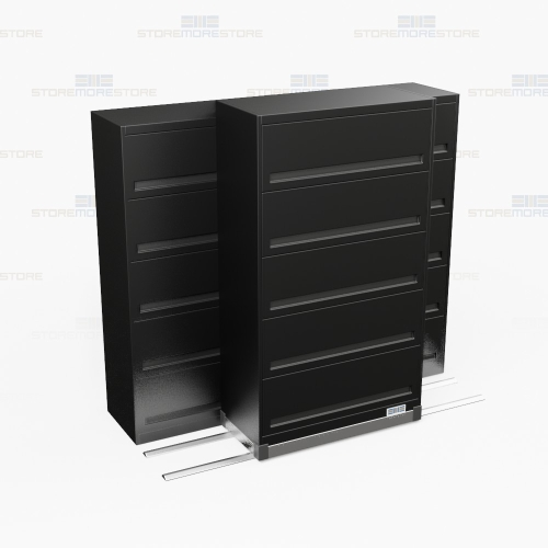 Rolling Filing Cabinets High Density 5 Tier Flipper Door Cabinets On Tracks 2 1 78
