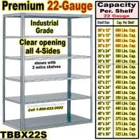 22 gauge Open Steel Shelving / Sturdy-Shelf / TBBX22S