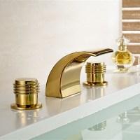 Gold Bathroom Faucet - Gold Finish Brass Body LED Bathroom ...