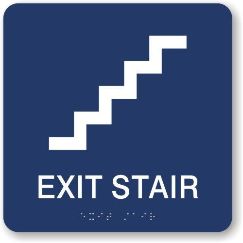 Exit Stair Sign Ada Braille Directional Signage Just