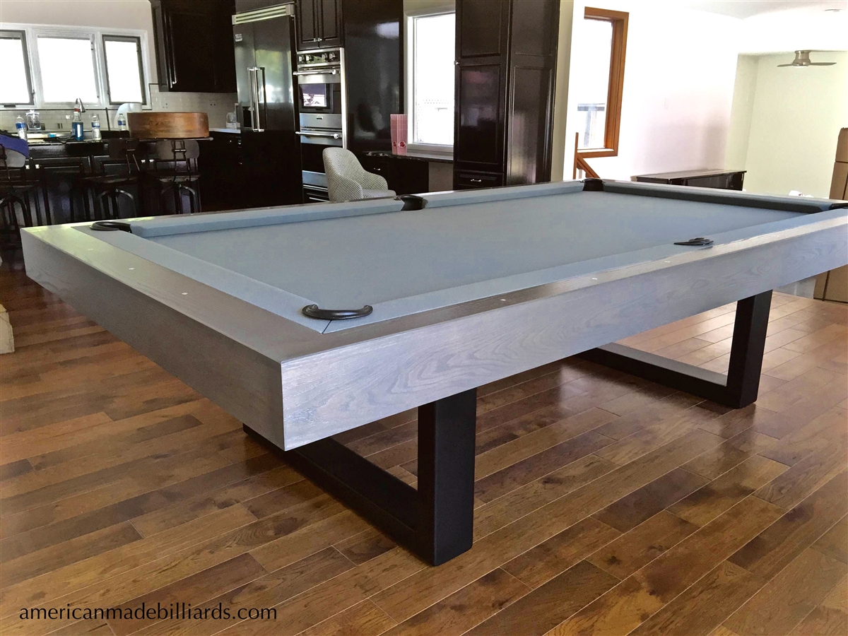 Metal Table Riviera Oak Contemporary Steel Pool Table