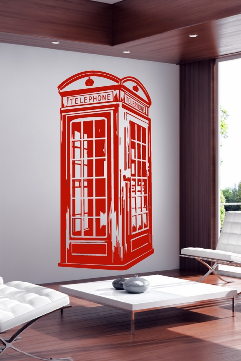 Car Stickers Wallpaper Wall Decals Vintage Phone Booth Walltat Com Art Without