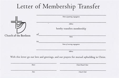Letter of Membership Transfer Certificate - sample membership certificate