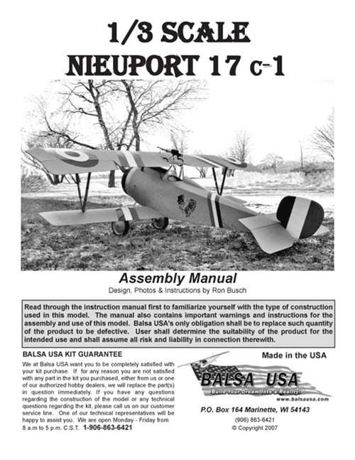 1/3 Scale Nieuport 17 Plans and Instruction Manual - instruction manual