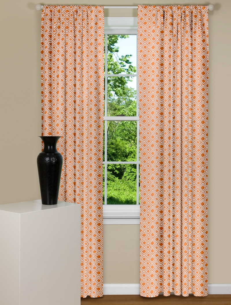 Orange Curtain Panels Orange Curtain Panels With A Geometric Design