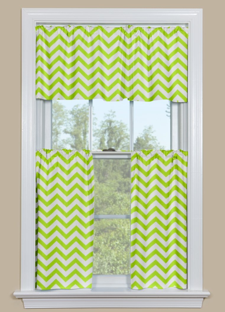 Cafe curtains for bathroom - Curtains For A Bathroom Window Or Kitchen Window Chevron Pattern In Green And White