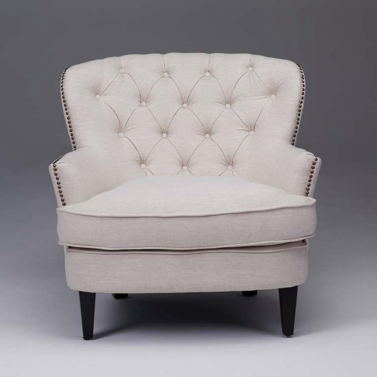 Upholstered Office Chair Tufted Sofa | Accent Chairs | Seriena | Beige Accent Chair