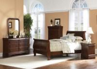 Louis Philippe Sleigh Bed 6 Piece Bedroom Set in Brown ...