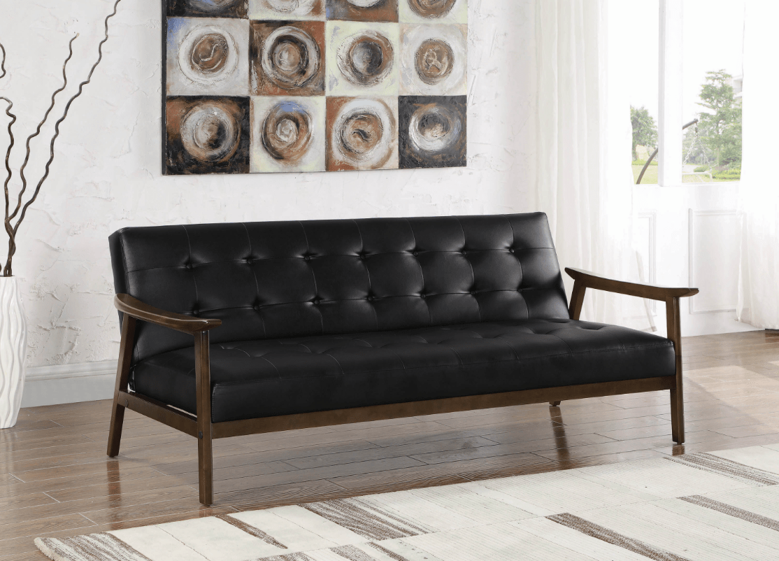 Retro Sofa Wood Nichol Retro Style Black Leatherette Sofa Bed