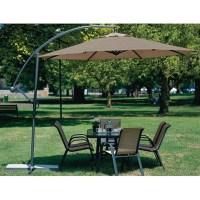 10 Foot Mocha Offset Patio Canopy Umbrella Rotates 360 ...