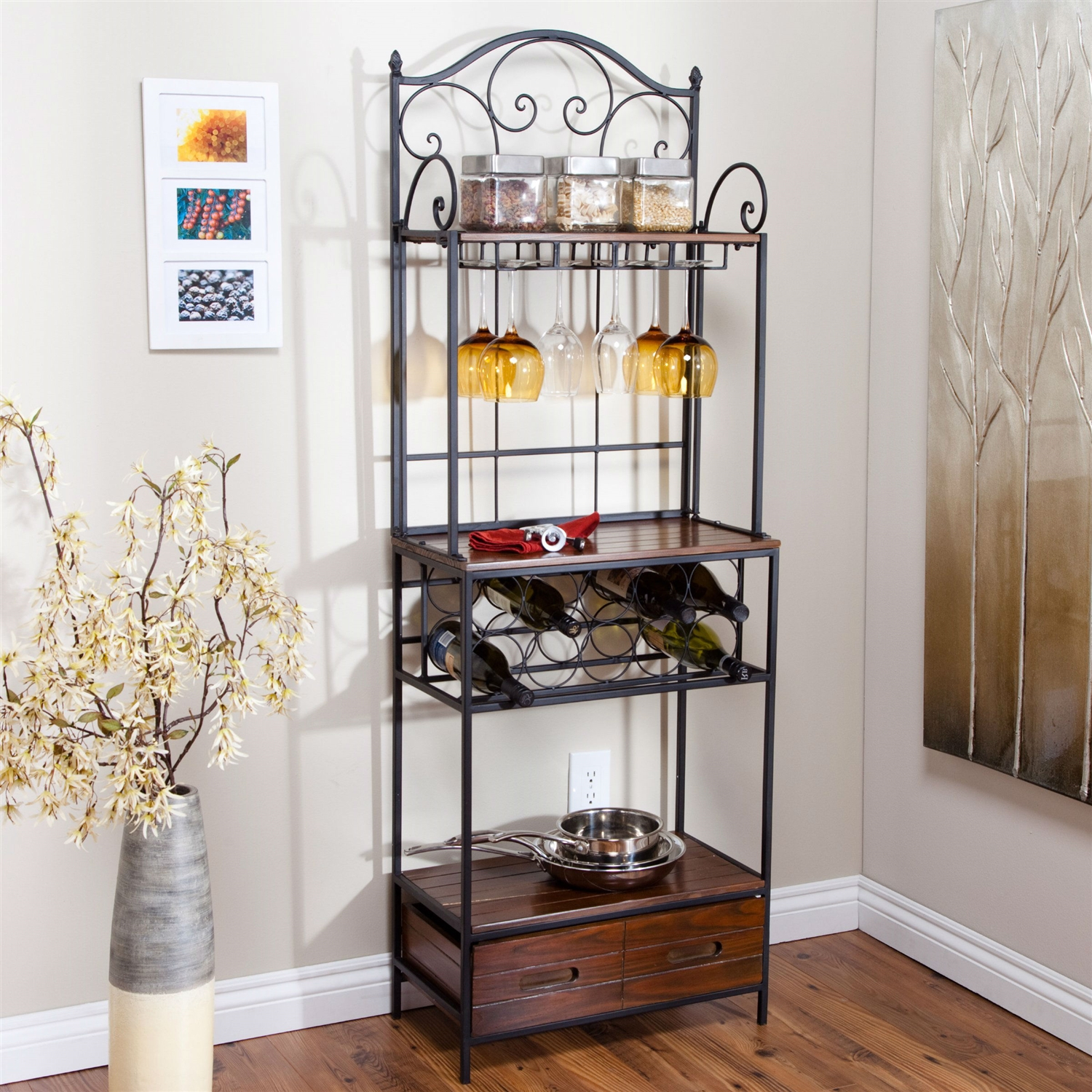 Metal Wine Storage Racks Sturdy Metal And Wood Bakers Rack With Wine Glass And Bottle Storage