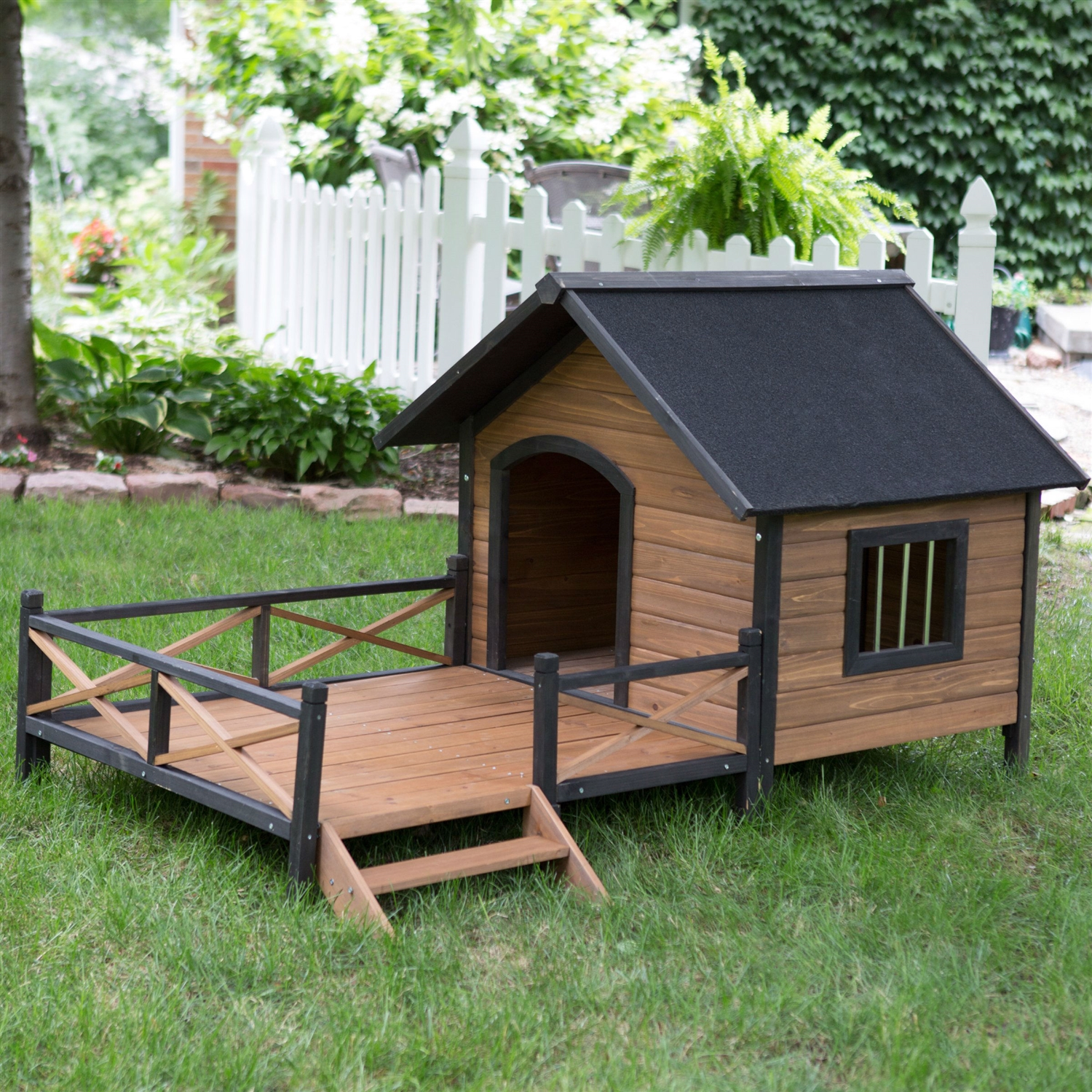 Dog House Large Solid Wood Outdoor Dog House With Spacious Deck Porch