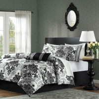 Queen size 7-Piece Damask Comforter Set in Black White ...