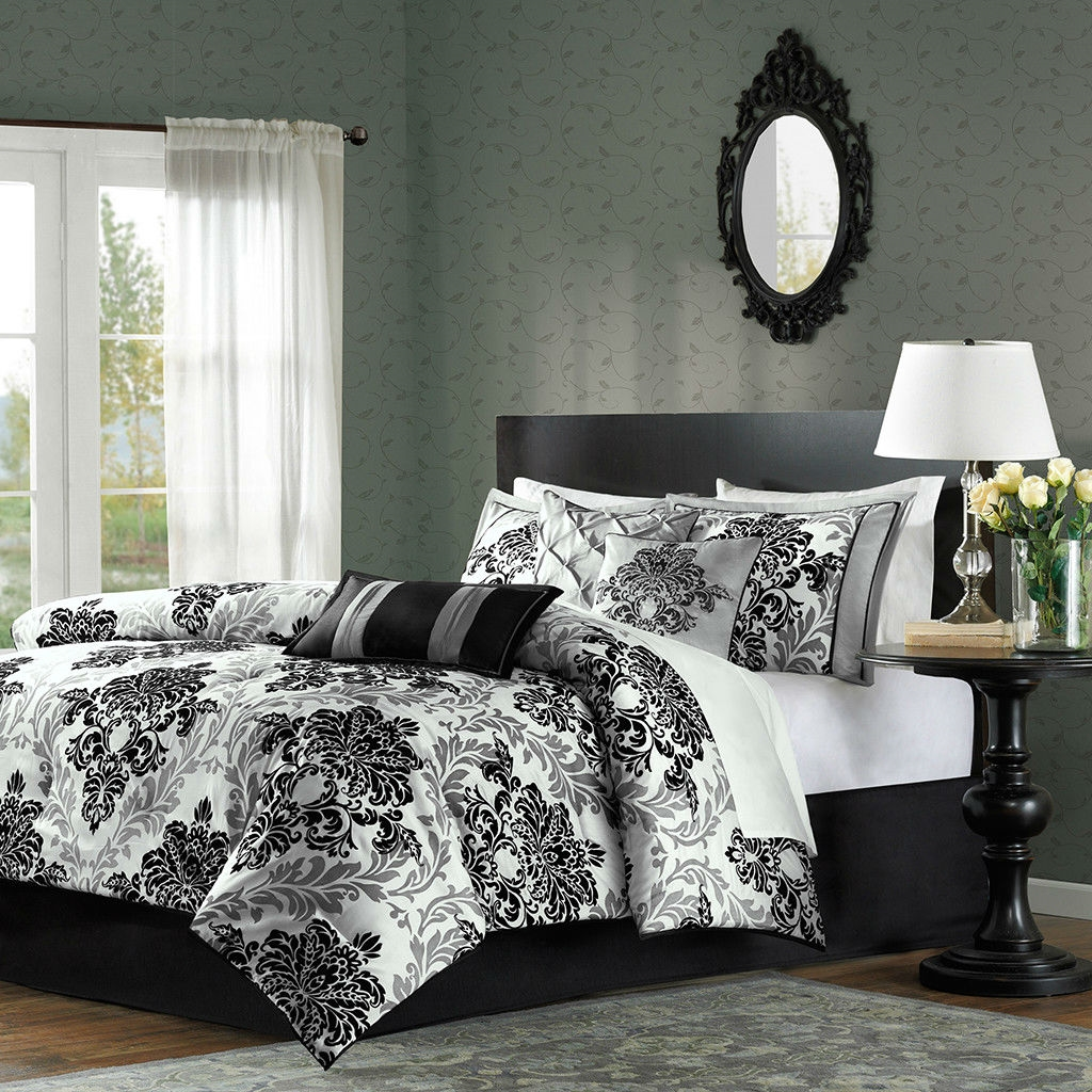 Black White And Grey Duvet Covers Queen Size 7 Piece Damask Comforter Set In Black White