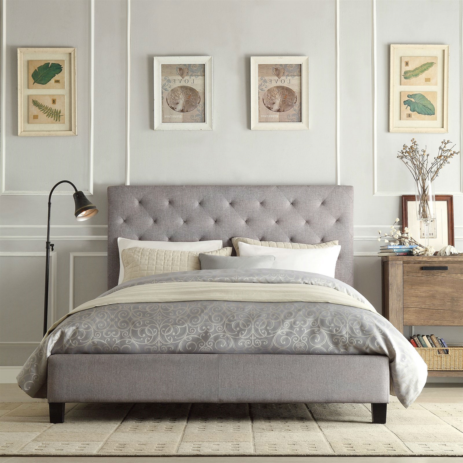 Tufted Queen Bed Queen Size Gray Linen Upholstered Platform Bed With Button