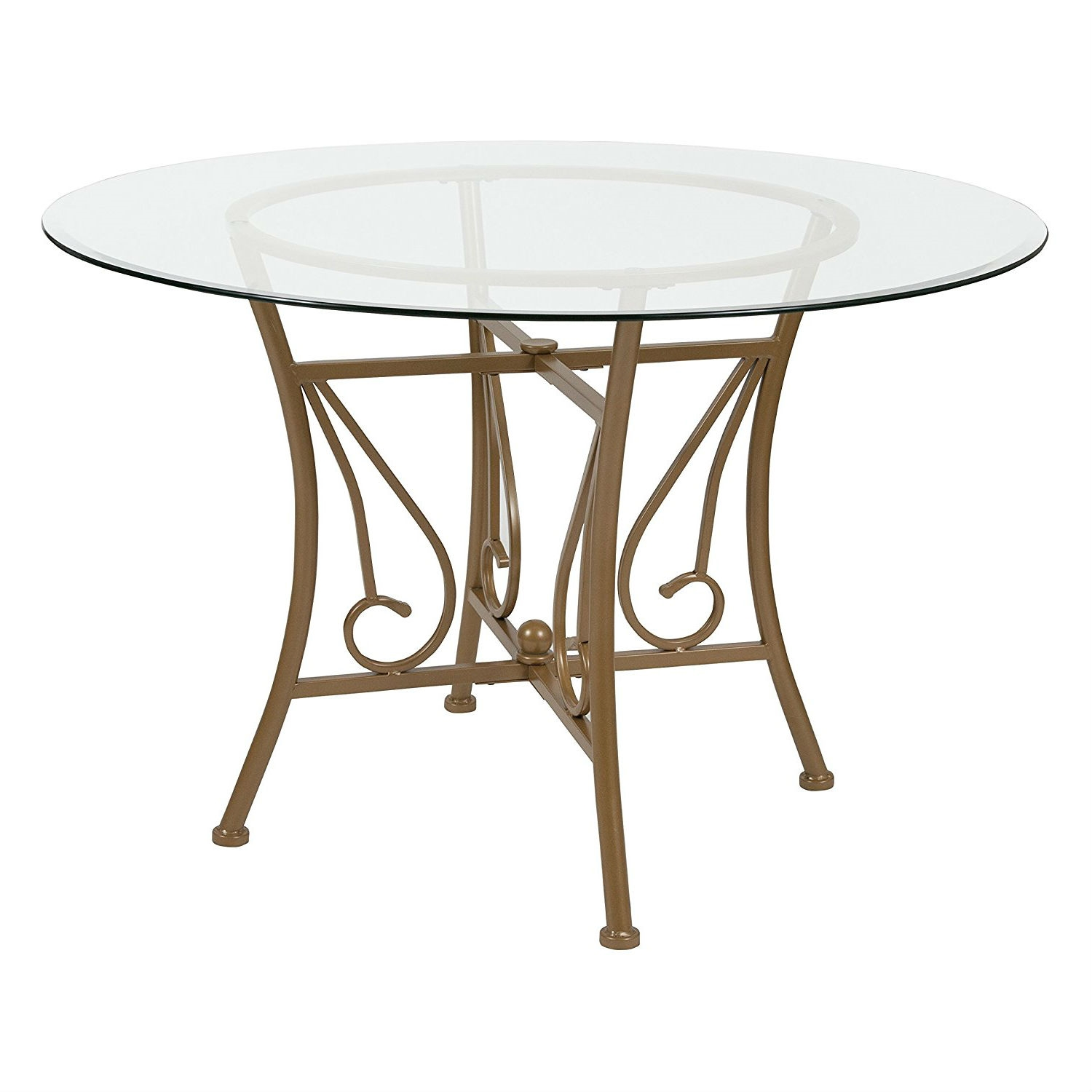Round Glass Top Dining Table Contemporary 45 Inch Round Glass Top Dining Table With Matte Gold Metal Frame