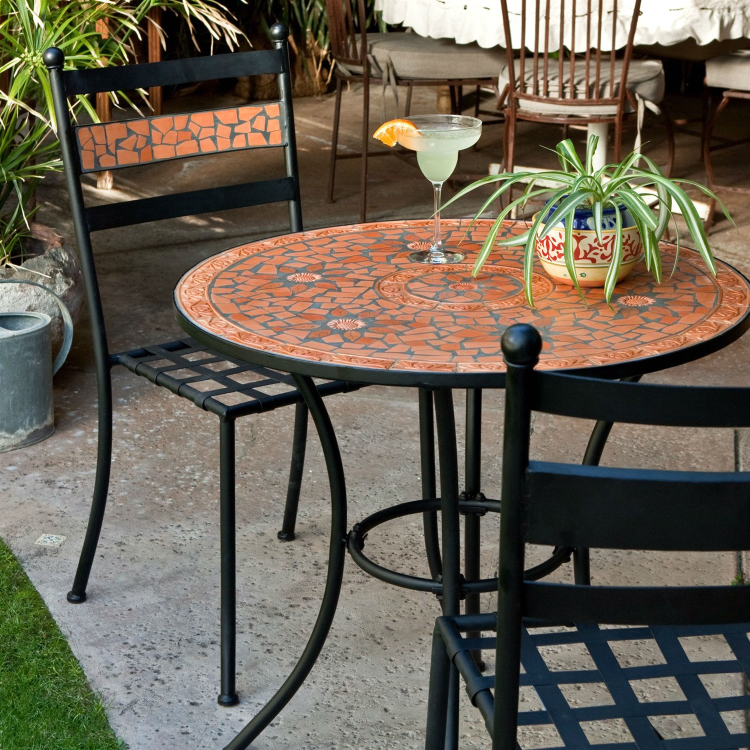 Chaise Metal Bistro 3 Piece Black Metal Patio Bistro Set With Terra Cotta Tiles