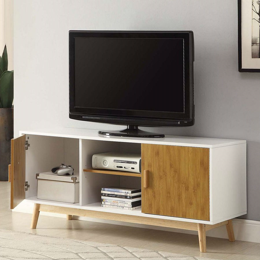 Tv Sideboard Modern Modern 47 Inch Solid Wood Tv Stand In White Finish And Mid Century Legs