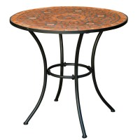 Round Outdoor Patio Bistro Table with Terracotta Mosaic ...