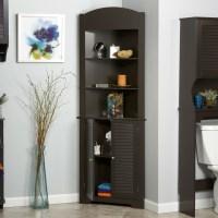 Espresso Bathroom Linen Tower Corner Towel Storage Cabinet ...