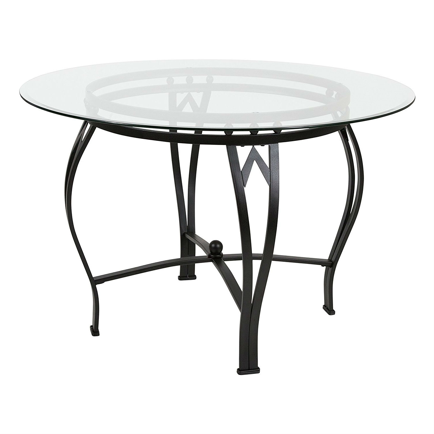 Round Glass Top Dining Table Modern 45 Inch Round Glass Top Dining Table With Black Metal Frame