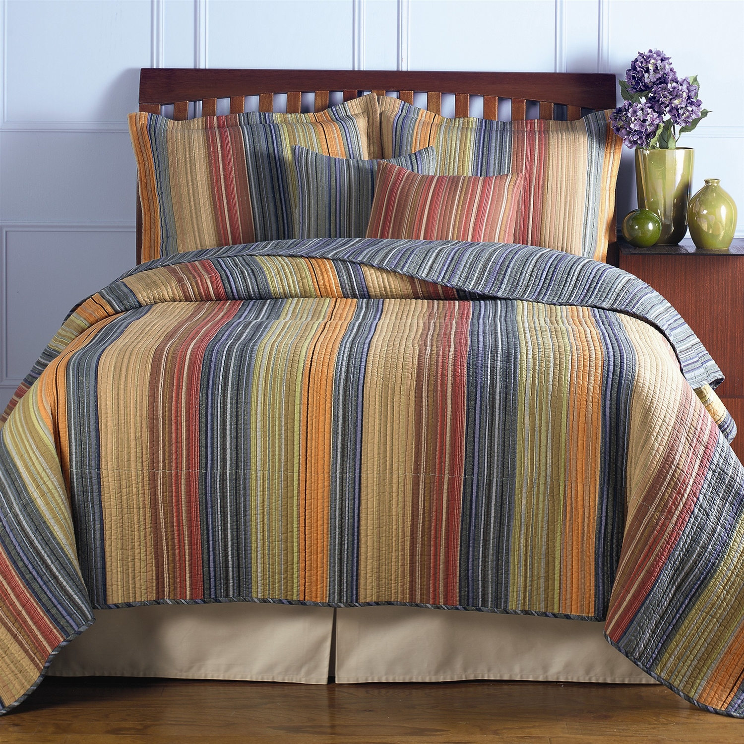 King Quilt Size King Size 100 Cotton Quilt Set With Brown Orange Red Blue
