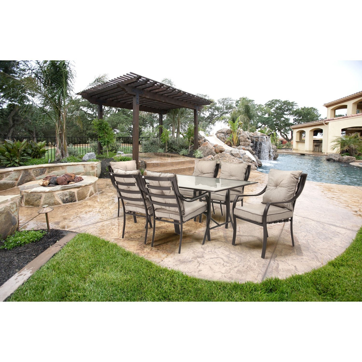 7 Piece Patio Set 7 Piece Outdoor Patio Furniture Metal Dining Set With Cushions
