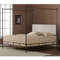 King size Metal Canopy Bed Cream Color Upholstered ...