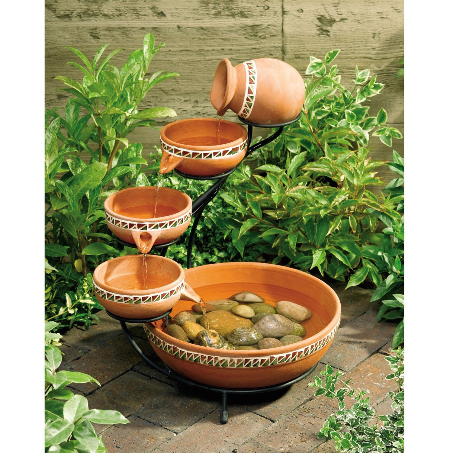 Gartendeko Holzstamm Terracotta 5 Tier Bowls Outdoor Solar Fountain Bird Bath