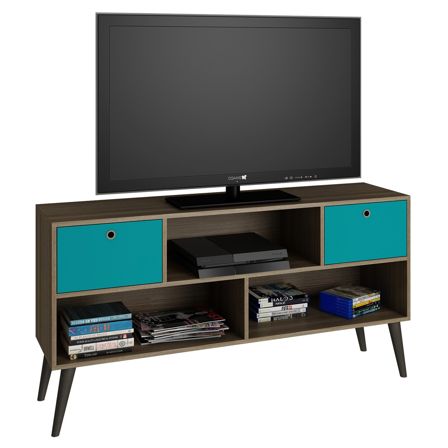 Modern Tv Modern Classic Mid Century Tv Stand Entertainment Center In Oak Aqua Grey Wood Finish