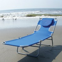 Blue Chaise Lounge Beach Chair with Rustproof Steel Frame ...
