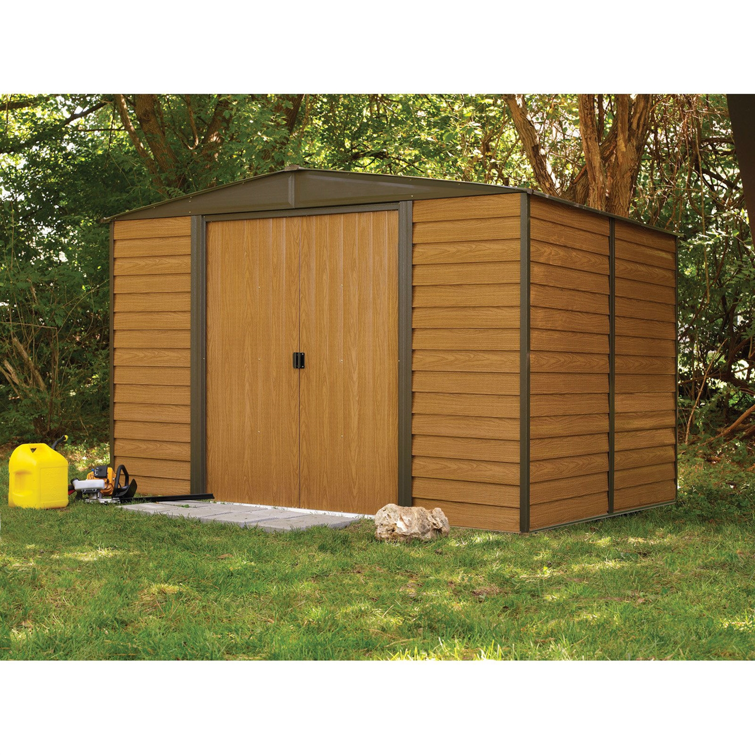 Steel Storage Sheds Outdoor 10 X 12 Ft Steel Storage Shed With Woodgrain Panels
