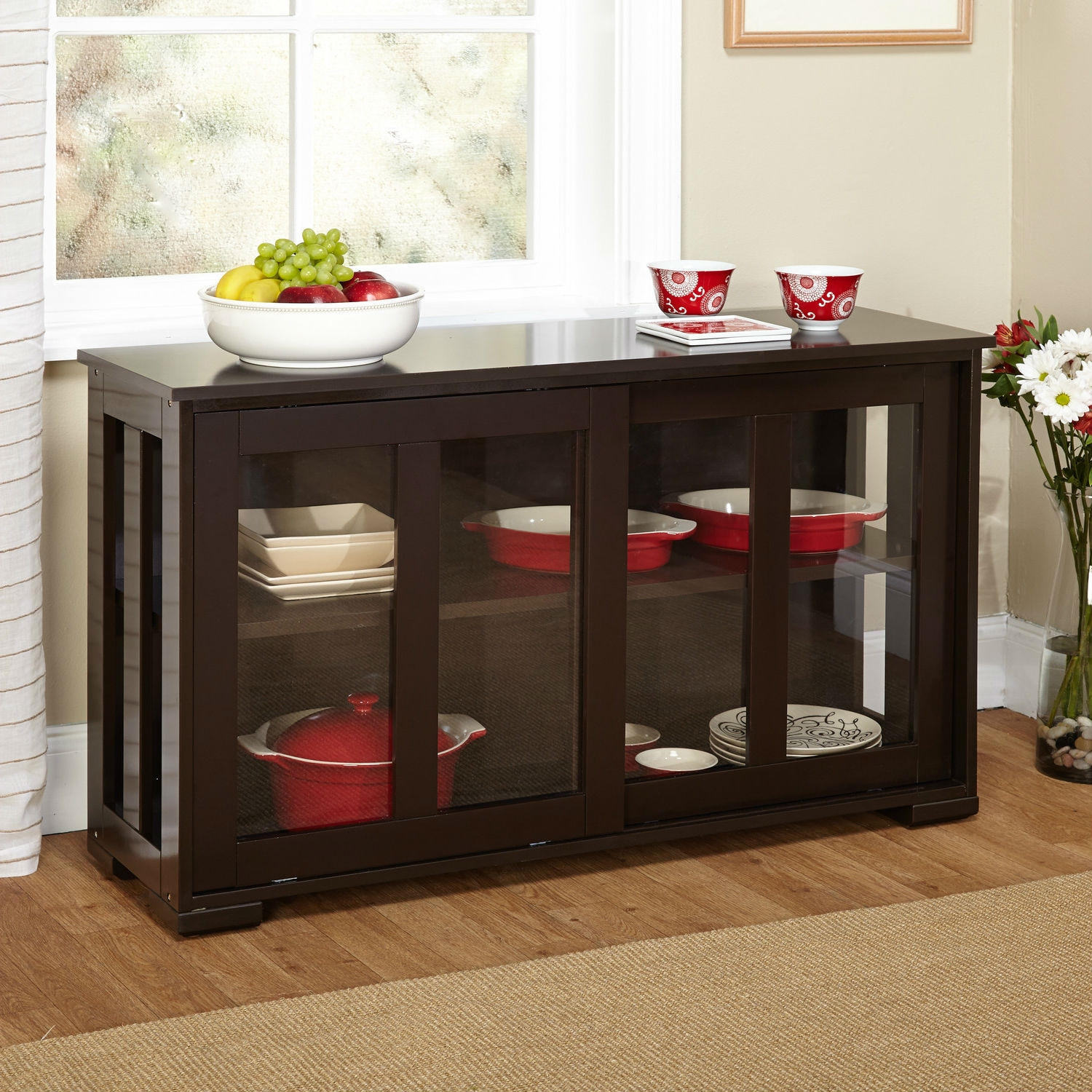 Buffet Kitchen Cabinet Espresso Sideboard Buffet Dining Kitchen Cabinet With 2 Glass Sliding Doors
