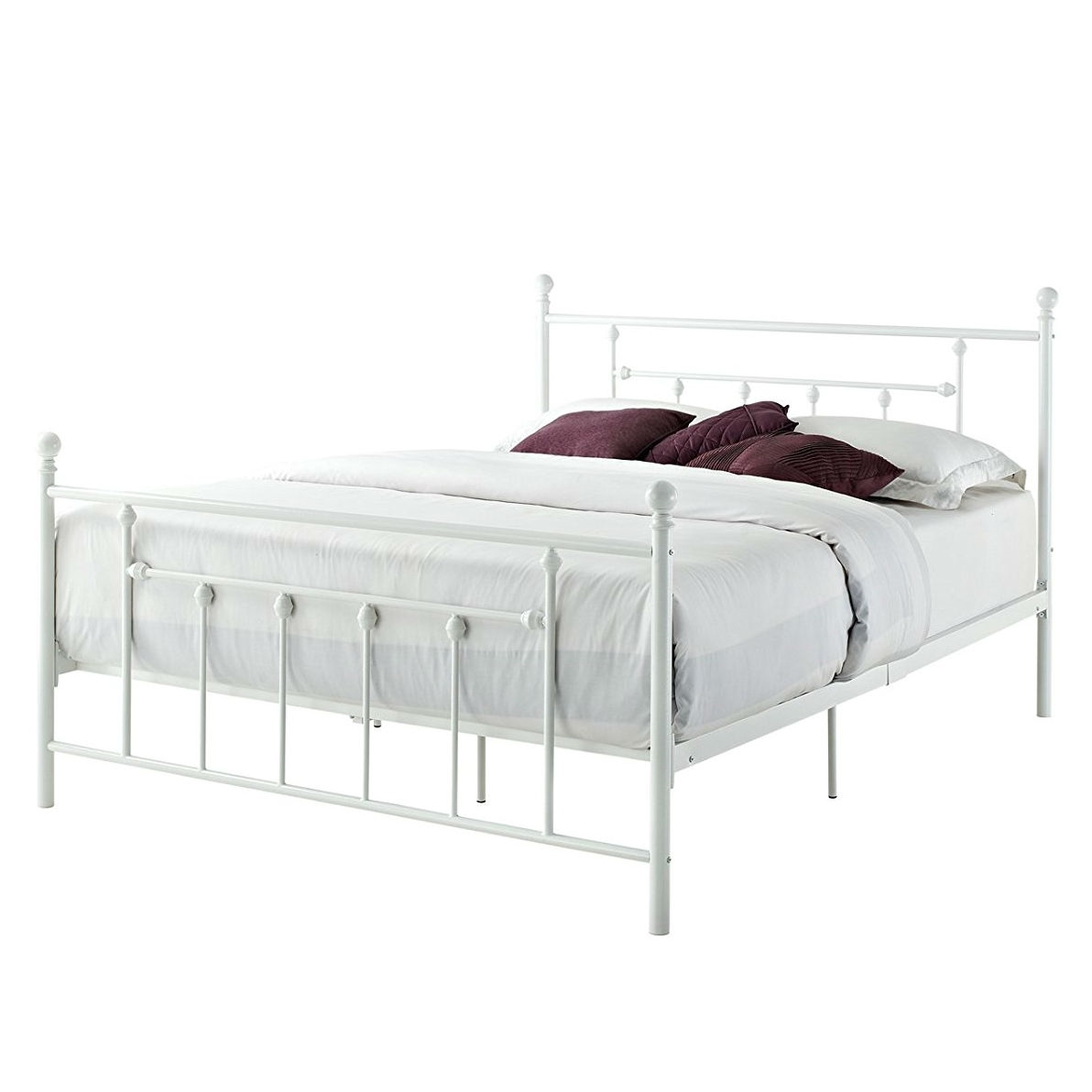 White Platform Bed Without Headboard Queen Size White Metal Platform Bed Frame With Headboard And Footboard