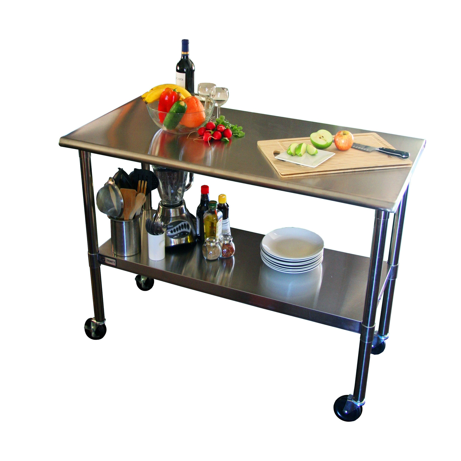 tep kitchen prep table 2ft 4ft Stainless Steel Top Kitchen Prep Table with Locking Casters Wheels