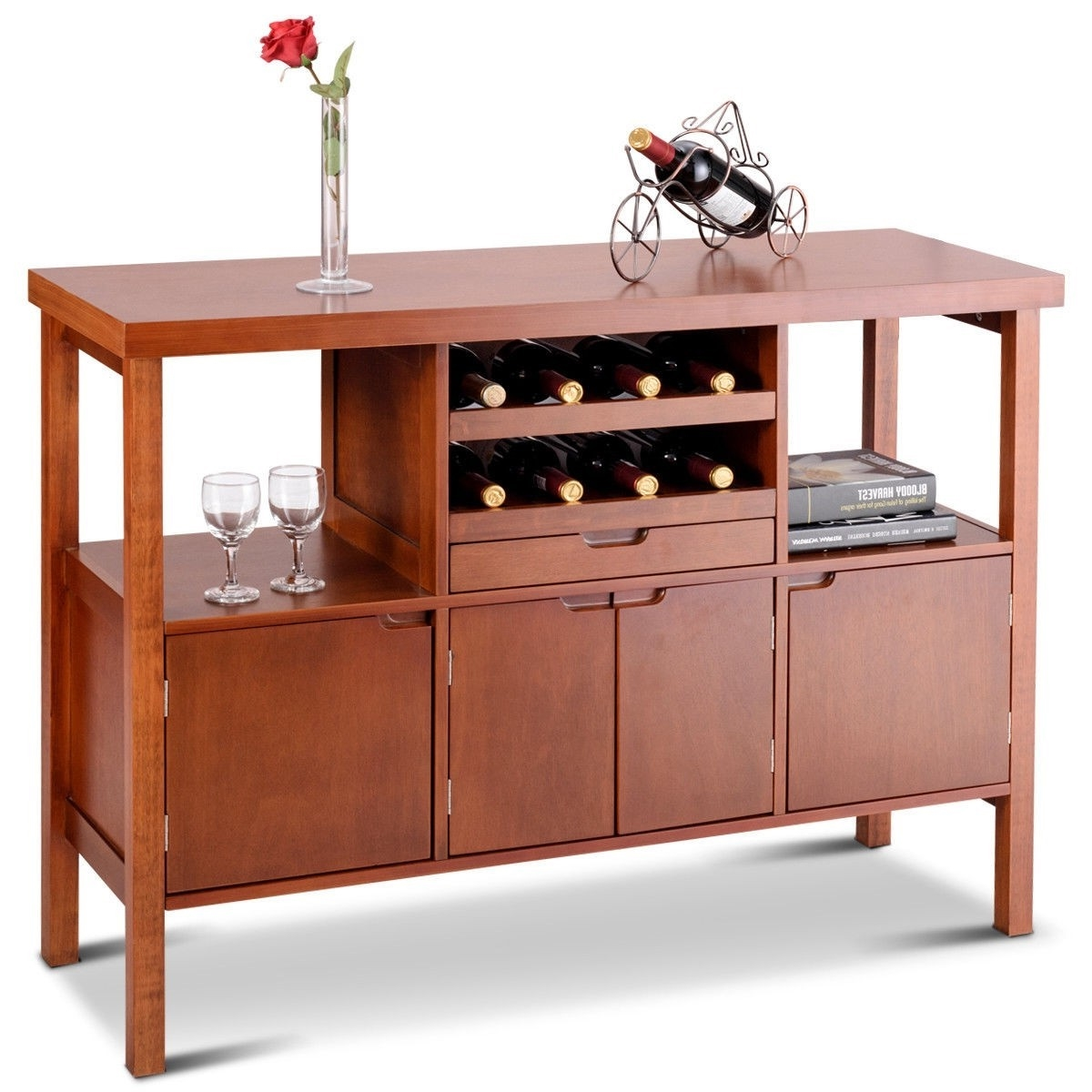 Buffet Sideboard With Wine Rack Modern Sideboard Buffet Cabinet With Wine Rack In Brown Wood Finish